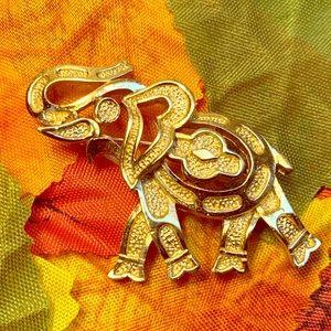 Vintage Trifari gold tone elephant brooch